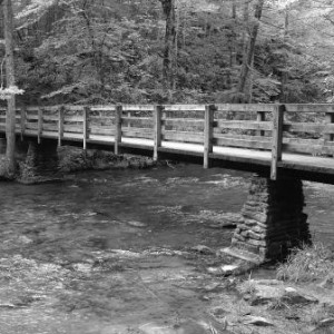 Upland - Management Consulting - Black and white bridge over stream