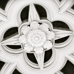 Black and white photo stone ceiling rose in form of star - Upland Consulting