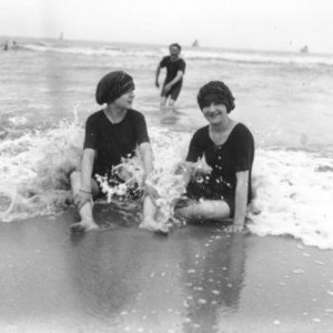 Black and white photo of beach scene
