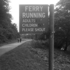 Upland Consulting - Advisory Boards - Does a Board Make Money? - Black and White photograph of ferry sign at Richmond, Rives Thames, London, UK.